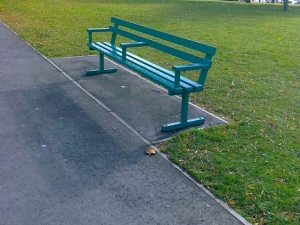 Plastic coated bench incorporating disabled access