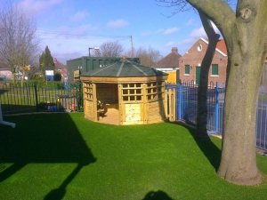 Small Corner Gazebo Complete with Artificial Grass