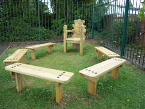 Story telling chair with benches